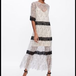 Zara lace maxi dress with contrasting trims